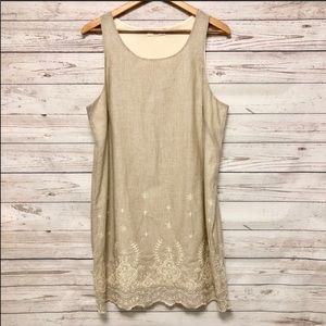 Le Lis beige embroidered dress size Large